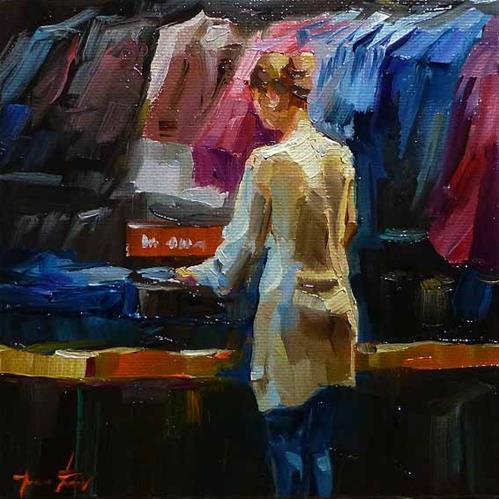 """die Verkäuferin"" original fine art by Jurij Frey"