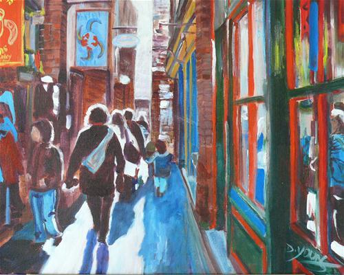 """""""Fan Tan Alley"""" original fine art by Darlene Young"""