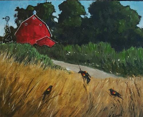 """Red Wing Blackbirds"" original fine art by Steve Gibson"