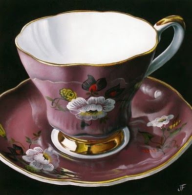 """""""Teacup Study:  My Mother's Collection I"""" original fine art by Jelaine Faunce"""