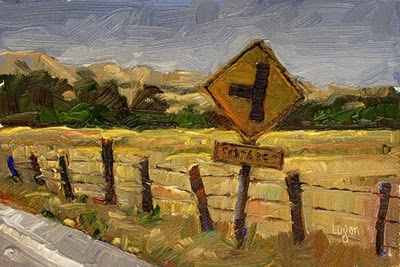 """""""Sign out on Buckley Road"""" original fine art by Raymond Logan"""