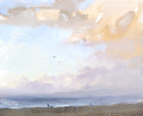 """""""Seascape winter 13 The single passing moment (zeegezicht) (available)"""" original fine art by Roos Schuring"""