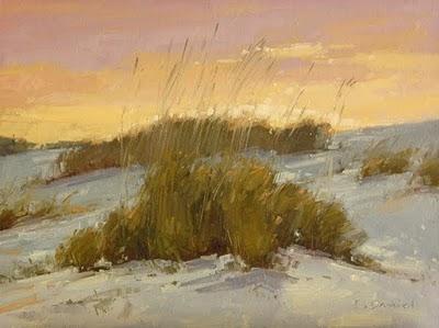 """Sea Oats at Dusk (enlarged)"" original fine art by Laurel Daniel"