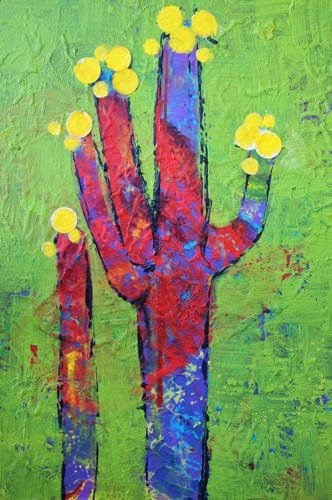 """Bloomin Cactus, Contemporary Southwest Landscape Paintings by Arizona Artist Amy Whitehouse"" original fine art by Amy Whitehouse"
