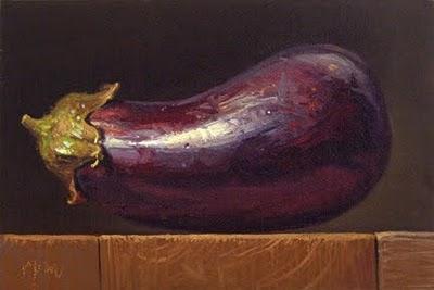 """""""Eggplant on a Wood Block No. 2"""" original fine art by Abbey Ryan"""