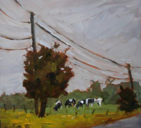 """""""Buttercups and Cows"""" original fine art by Claudia L Brookes"""