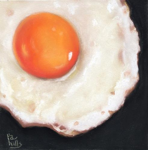 """fried egg pastel"" original fine art by Ria Hills"