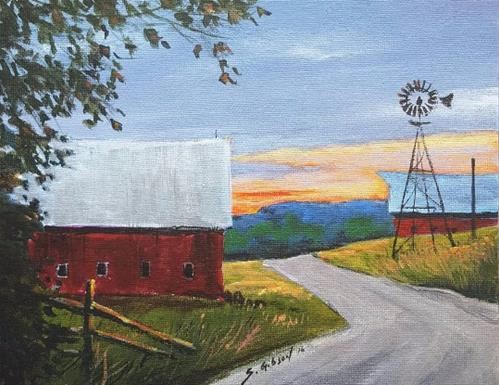 """Sunset over Brinkers Barn"" original fine art by Steve Gibson"