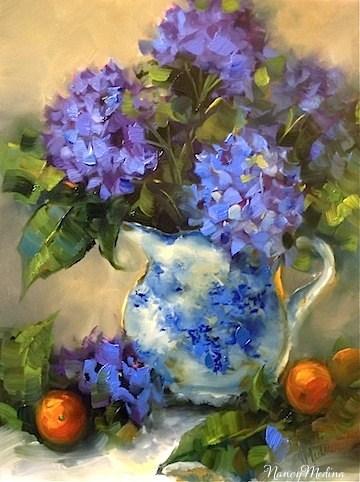 """Before the Storm Blue Hydrangeas"" original fine art by Nancy Medina"