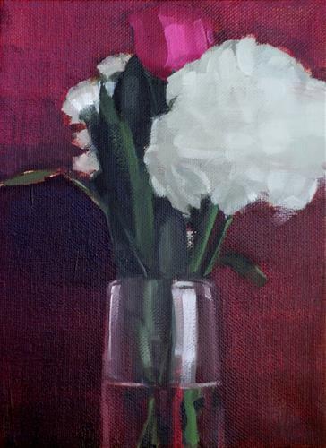 """Rose and Hydrangeas in Vase (no.125)"" original fine art by Michael William"
