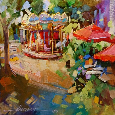 """""""A Very Merry-Go-Round in France"""" original fine art by Dreama Tolle Perry"""