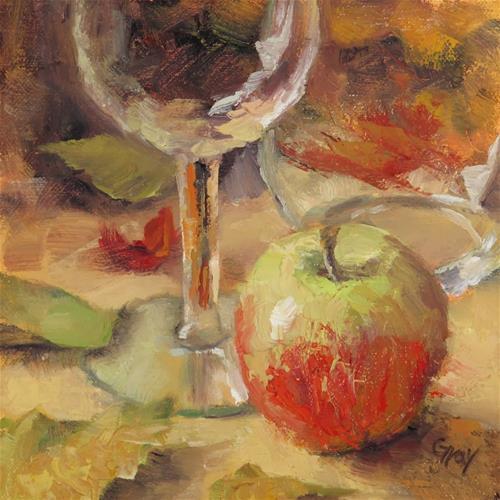 """Apple and Wine Glasses"" original fine art by Naomi Gray"