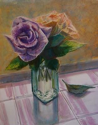 """Violet Apricot: Watercolor & Pastel"" original fine art by Belinda Del Pesco"