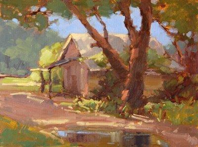 """""""Cabin at Taylor Fish Camp"""" original fine art by Laurel Daniel"""