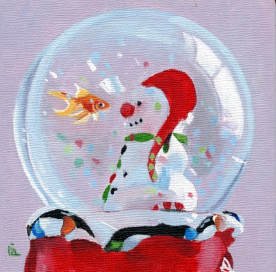 """""""snowglobe acrylic painting and Name this Painting"""" original fine art by Ria Hills"""