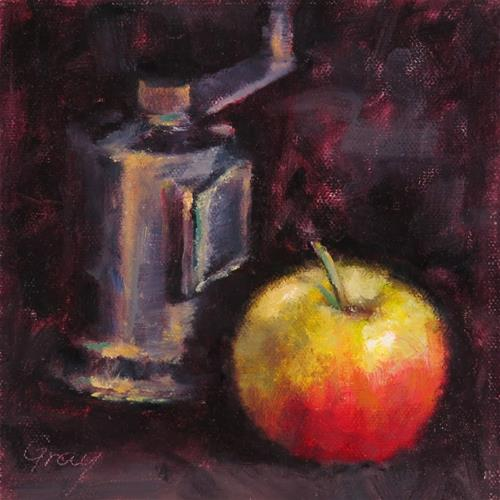 """""""Apple and Pepper Grinder"""" original fine art by Naomi Gray"""