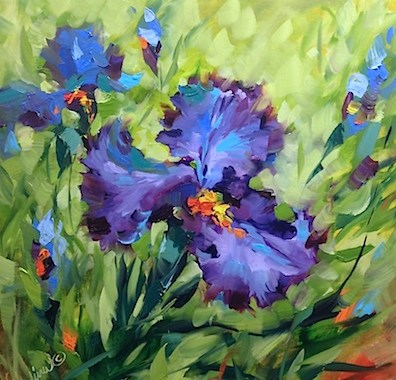 """""""A Video of Signs of Spring Blue Irises and the Truth Behind What Goes on in Flower Mound Studio - Fl"""" original fine art by Nancy Medina"""