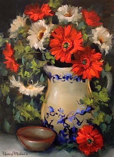 """Summer Gerbera Daisies and a North Texas Art Show by Floral Artist Nancy Medina"" original fine art by Nancy Medina"