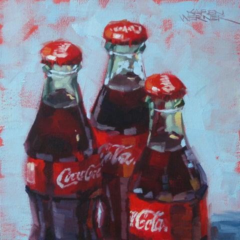 """""""Three Cokes"""" original fine art by Karen Werner"""
