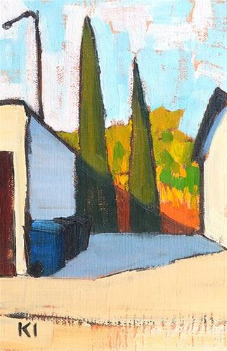 """""""Cypresses in the Alley, San Diego"""" original fine art by Kevin Inman"""