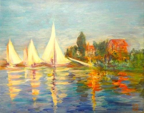 """4174 - Sailing with Monet - Regatta at Argenteuil"" original fine art by Sea Dean"