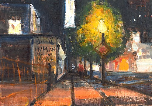 """""""Little Italy Nocturne"""" original fine art by Kevin Inman"""