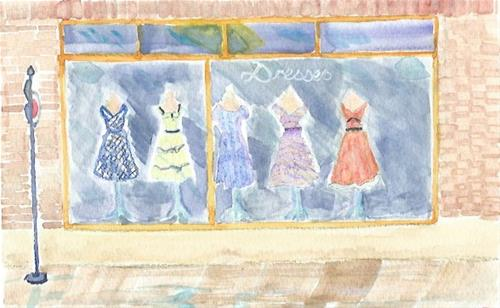 """""""Dress Shop Bus Stop"""" original fine art by Laura Denning"""