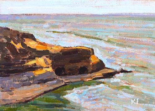 """""""Sunset Cliffs Plein Air, San Diego, CA"""" original fine art by Kevin Inman"""