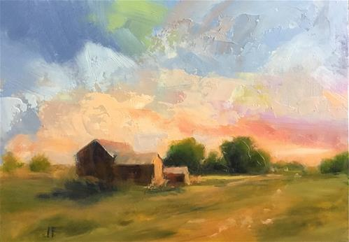 """Barns in the Evening"" original fine art by Charlotte Fitzgerald"