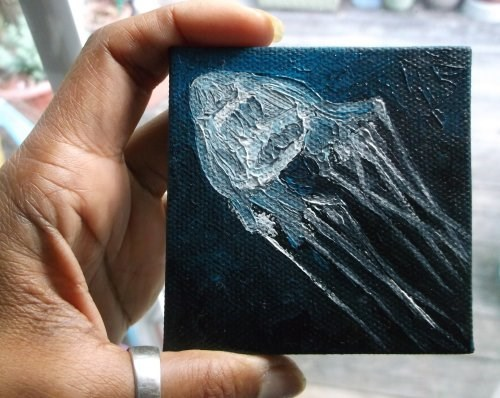 """Mini White Box Jellyfish"" original fine art by Camille Morgan"