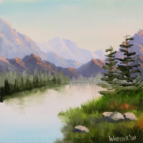 """""""Mark Webster - Mountain River Overture Landscape Oil Painting"""" original fine art by Mark Webster"""
