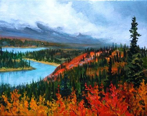 """""""Crimson and Gold, the North Canol"""" original fine art by Jackie Irvine"""