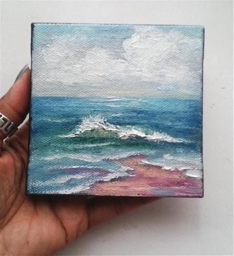 """Oil Painting Beach Waves Seascape"" original fine art by Camille Morgan"