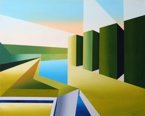 """""""Mark Webster - The Cubist Creek Abstract Acrylic Painting"""" original fine art by Mark Webster"""