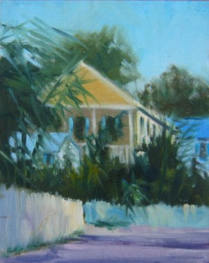 """""""Key West Yellow House"""" original fine art by Connie Snipes"""