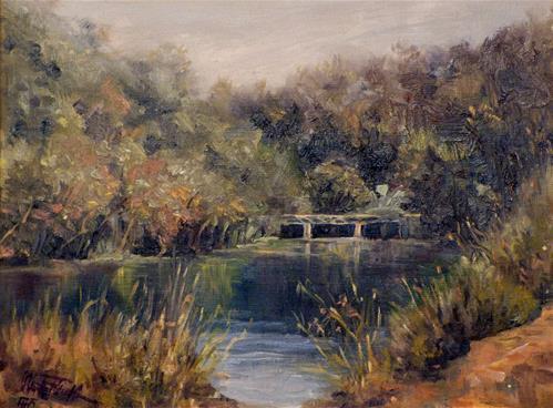 """""""Die Thayatal Brücke – The Thayavalley Bridge"""" original fine art by Christa Friedl"""