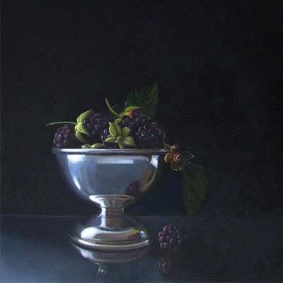 """""""Blackberries  8x8"""" original fine art by M Collier"""
