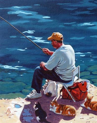 """Cat fish!"" original fine art by Alix Baker PCAFAS AUA"