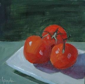 """TOMATO TRIO"" original fine art by Linda Popple"