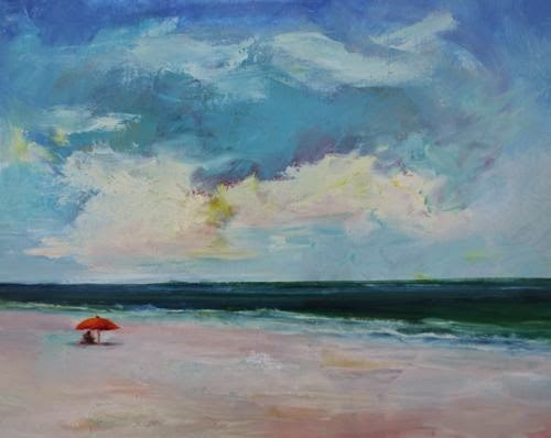 """""""Beach Read, Beach and Ocean Paintings by Arizona Artist Amy Whitehouse"""" original fine art by Amy Whitehouse"""
