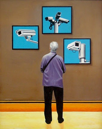 """Security Camera Museum- Painting Of Woman Enjoying Still Life Paintings Of CCTV Camera's"" original fine art by Gerard Boersma"