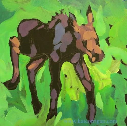 """Baby Moose From the Zoo"" original fine art by Kat Corrigan"