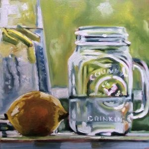 """Stilllife water with citrus"" original fine art by Sonja Neumann"