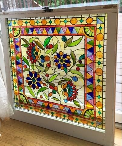 """Olive Vine Glass Window"" original fine art by Piya Samant"