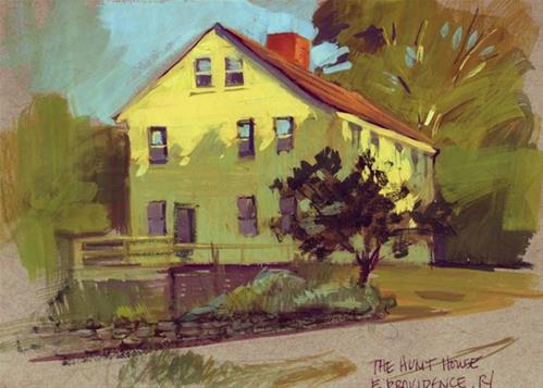 """Hunt House, in gouache"" original fine art by Kathy Weber"