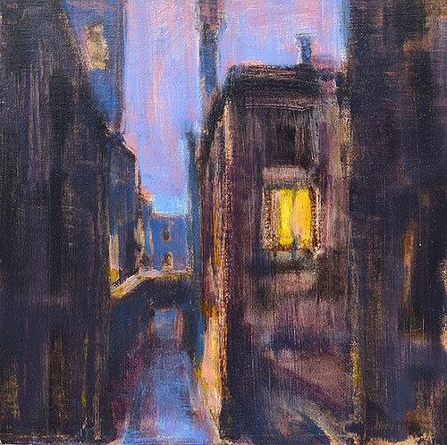 """Nightfall in Venice"" original fine art by Kevin Inman"