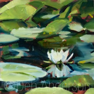 """""""Oil Painting of a Water Lily"""" original fine art by Deb Anderson"""
