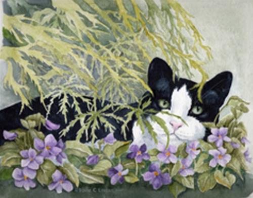 """""""Katie Kitty"""" original fine art by Elaine Lynest"""