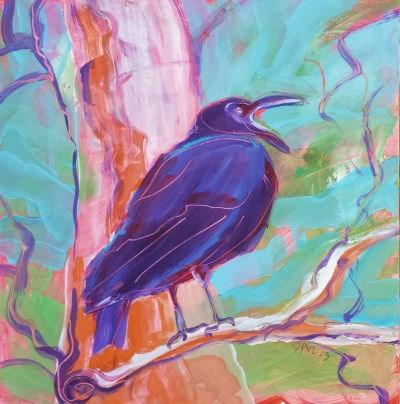 """""""Crow in the Tree 3"""" original fine art by Pam Van Londen"""
