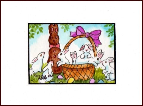 """""""Basket of Easter Bunnies"""" original fine art by Patricia Ann Rizzo"""